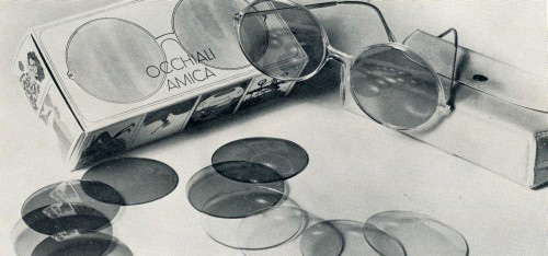 Amica glasses-Italo Cremona with seven interchangeable lenses. 1969 Archive of enterprise.