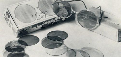 Amica glasses-Italo Cremona with seven interchangeable lenses. 1969 Archive of enterprise.