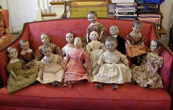 A rare gathering of Izannah Walker dolls photographed for Antique Doll Collector Magazine.  http://www.antiquedollcollector.com/